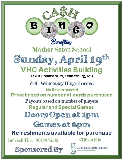 green and blue colored fler announcing cash bingo for mss on april 19 at 1pm