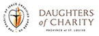 logo of the daughters of charity black cross within heart with gold flame