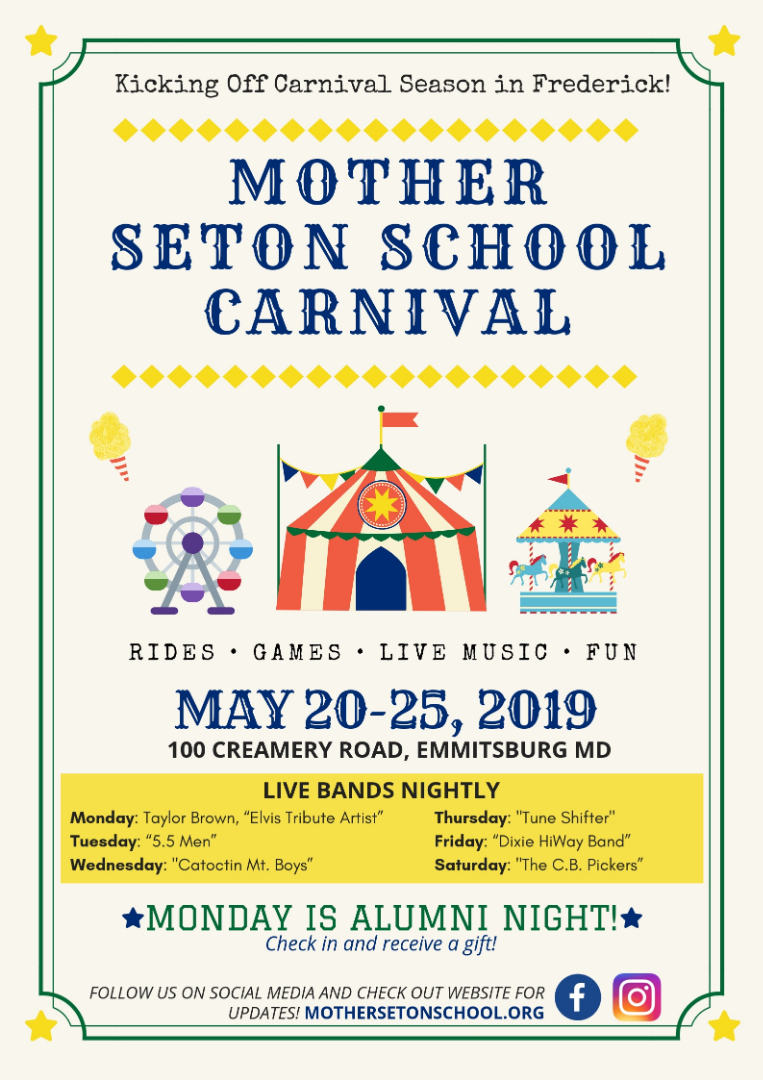 MSS Carnival flier May 20-25th nightly bands rides games and food 6-11p