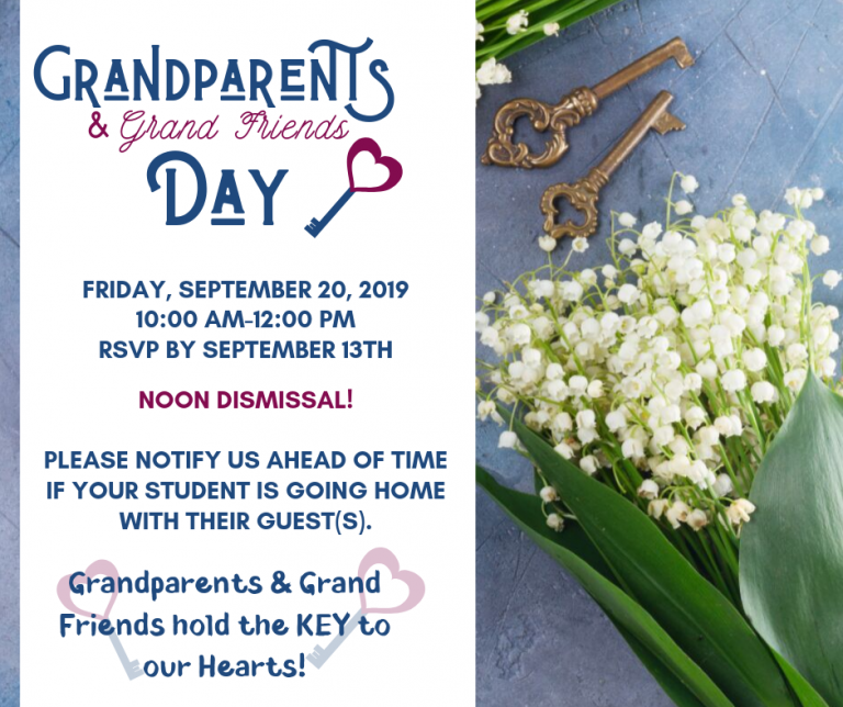 white flowers on blue background with antique key stylized font reading Grandparents Day