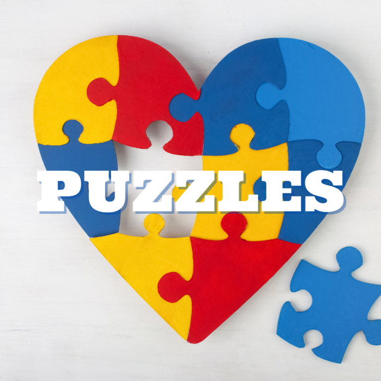 heart shaped puzzle missing a piece with puzzles written on it