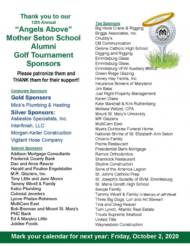 Thank you to 2019 angels above alumni golf tournament sponsors