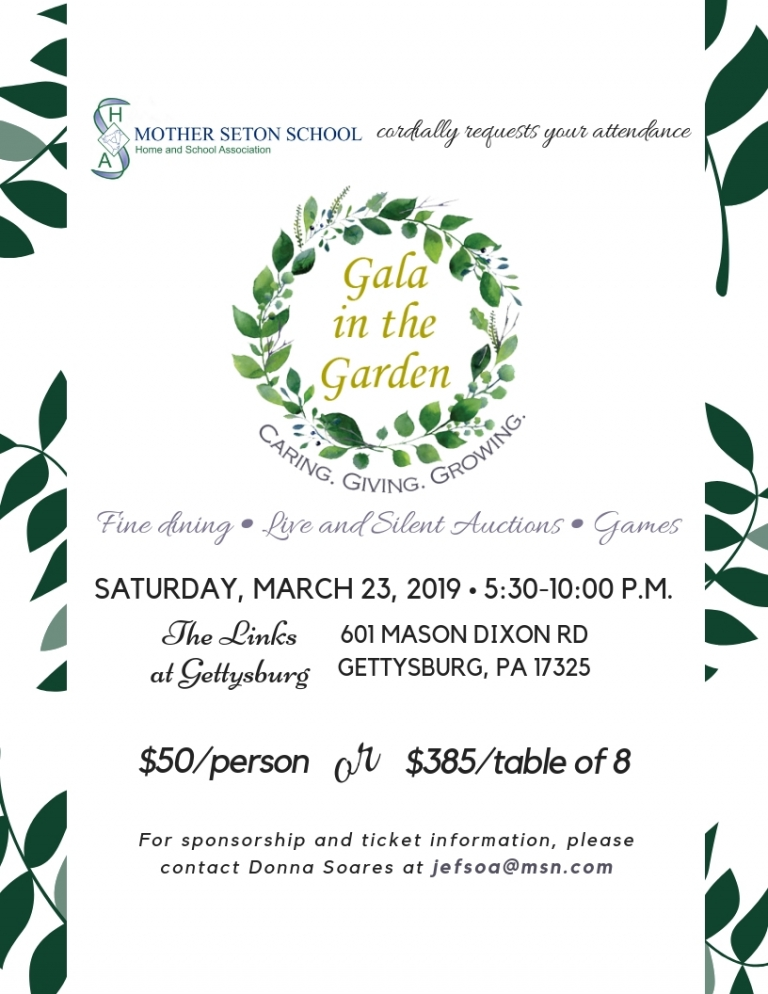 MSS Gala in the Garden March 23rd at 5:30p at The Links at Gettysburg $50 per person email jefsoa@msn.com for tickets