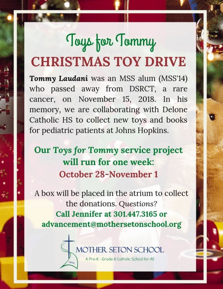 Christmas toys and tree flier Toys for Tommy toy drive service project